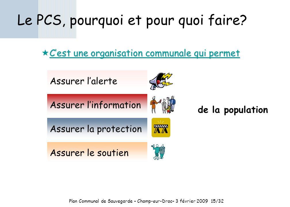 Plan Communal de Sauvegarde – Champ-sur-Drac– 3 février 2009 15/32