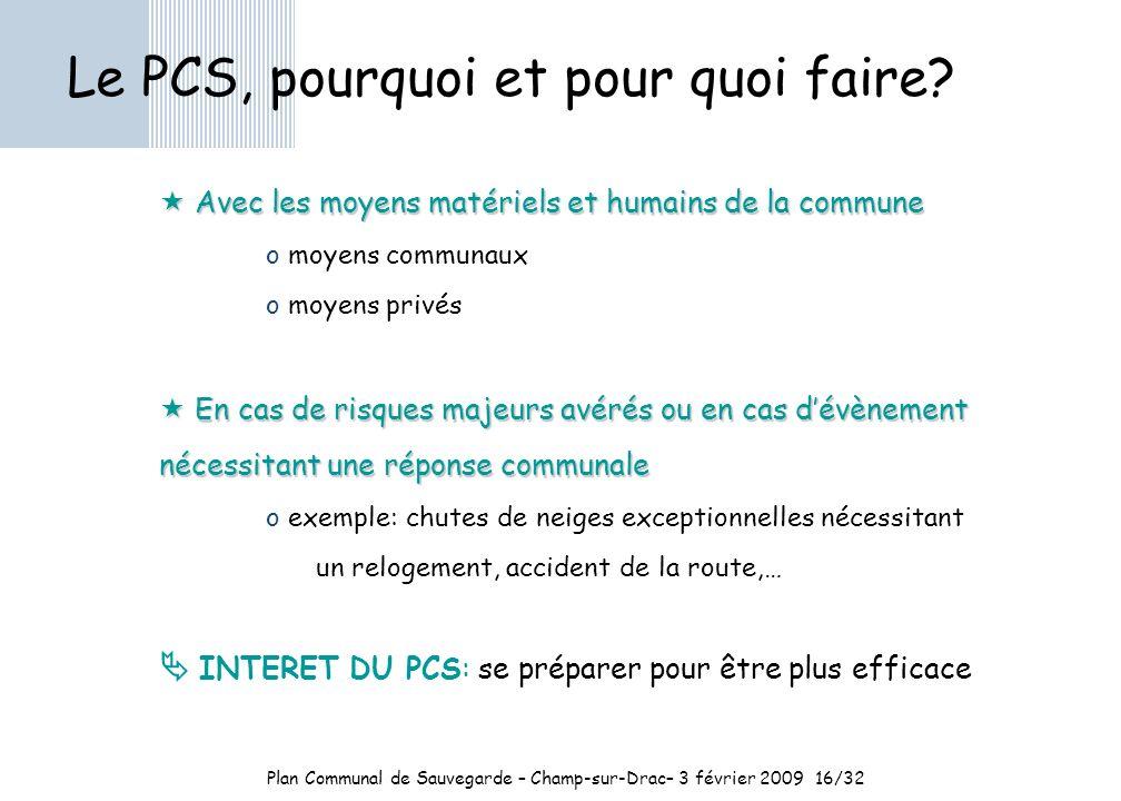 Plan Communal de Sauvegarde – Champ-sur-Drac– 3 février 2009 16/32