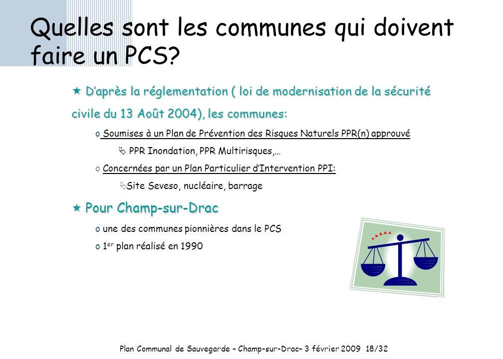Plan Communal de Sauvegarde – Champ-sur-Drac– 3 février 2009 18/32