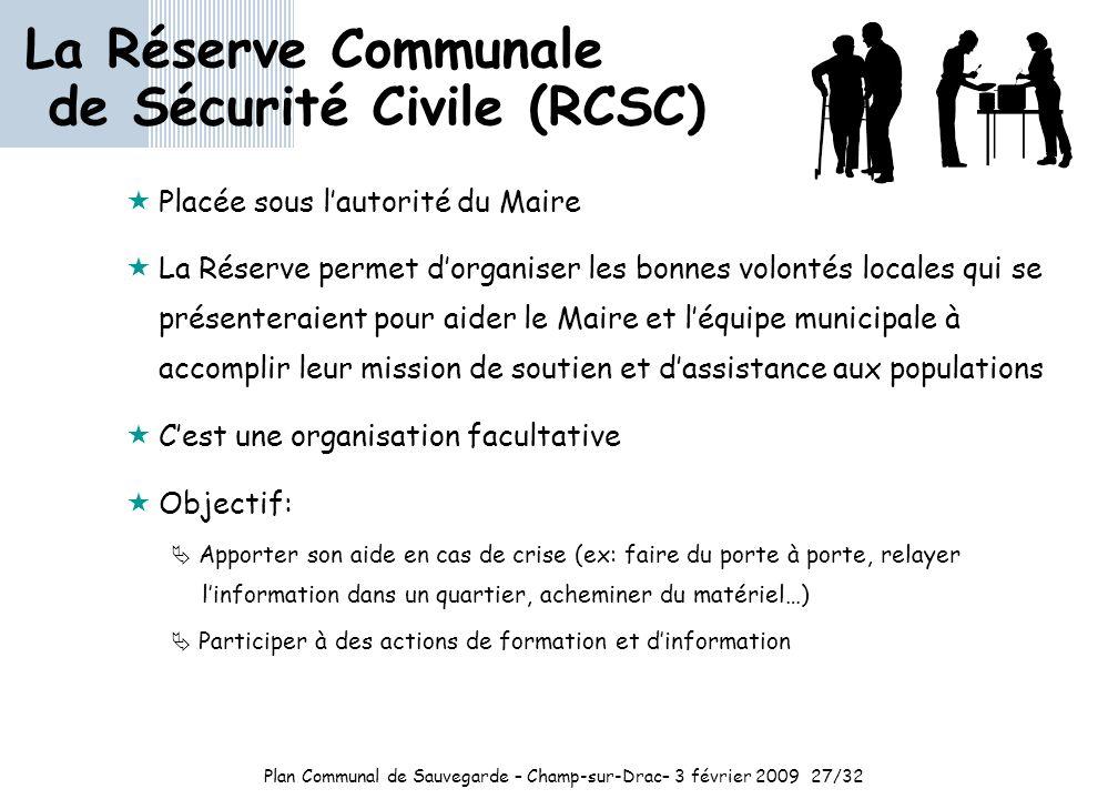 Plan Communal de Sauvegarde – Champ-sur-Drac– 3 février 2009 27/32