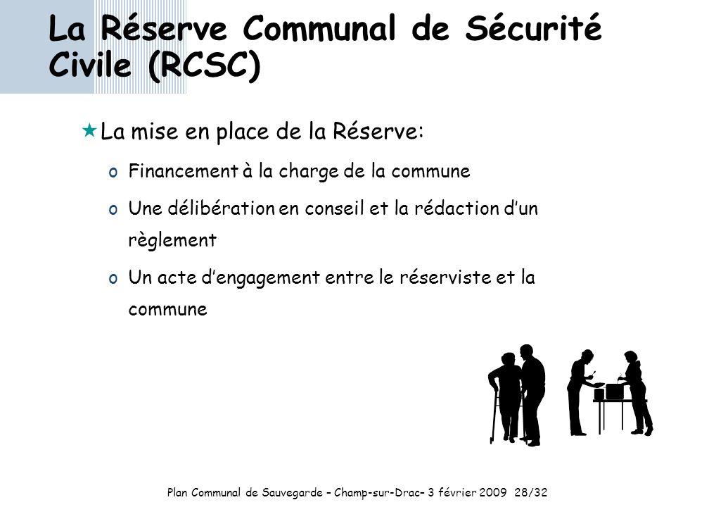 Plan Communal de Sauvegarde – Champ-sur-Drac– 3 février 2009 28/32