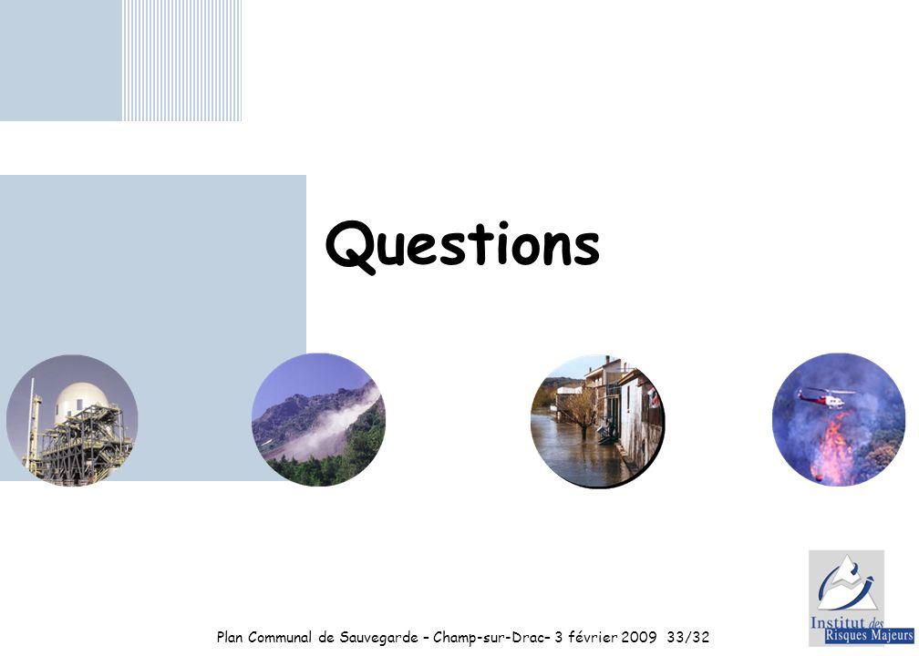 Plan Communal de Sauvegarde – Champ-sur-Drac– 3 février 2009 33/32