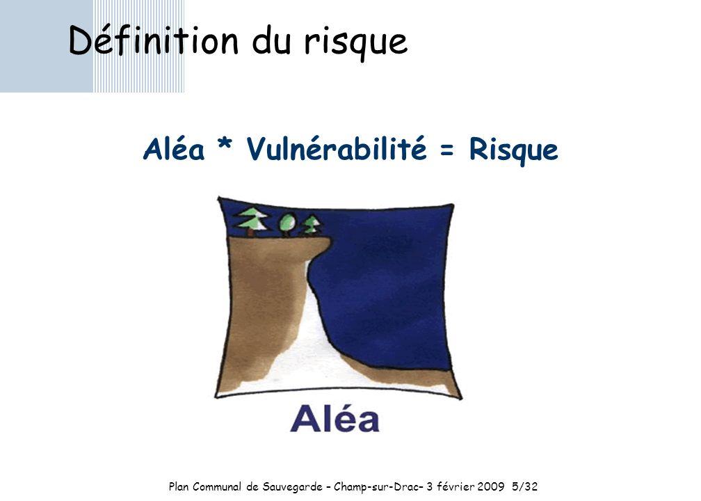 Aléa * Vulnérabilité = Risque