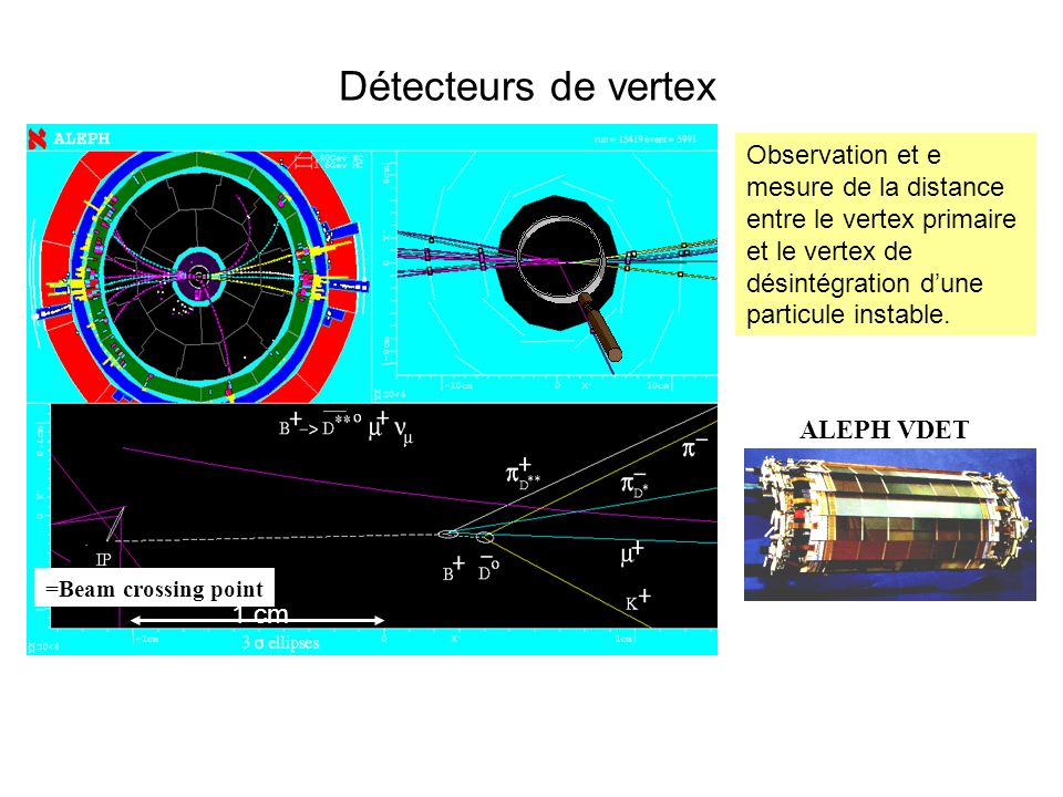 Détecteurs de vertex =Beam crossing point. 1 cm.