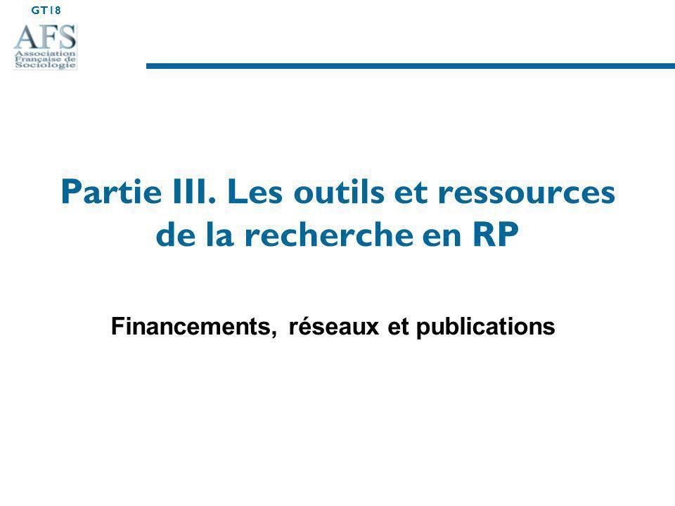 Partie III. Les outils et ressources de la recherche en RP