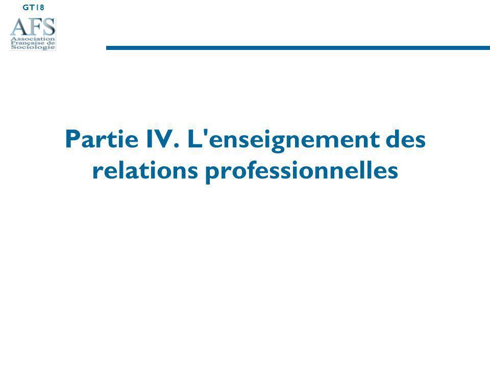 Partie IV. L enseignement des relations professionnelles