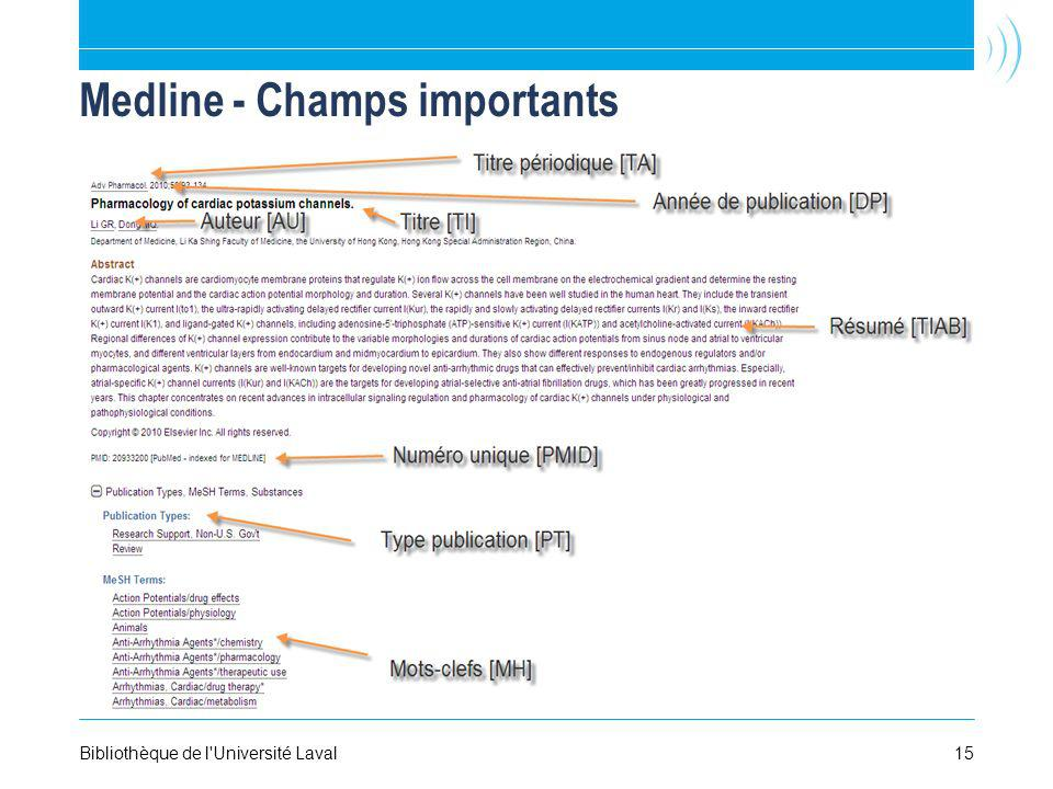 Medline - Champs importants