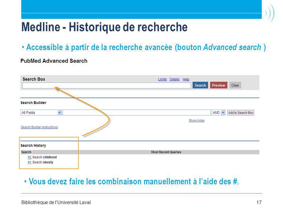 Medline - Historique de recherche