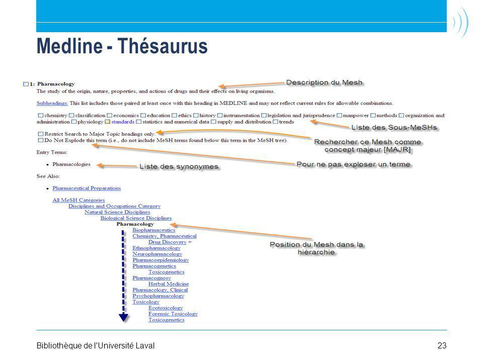 Medline - Thésaurus Bibliothèque de l Université Laval 23