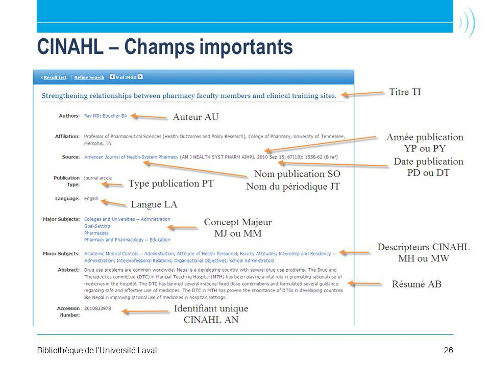 CINAHL – Champs importants