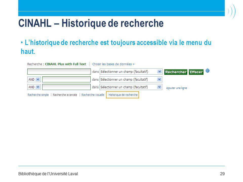 CINAHL – Historique de recherche