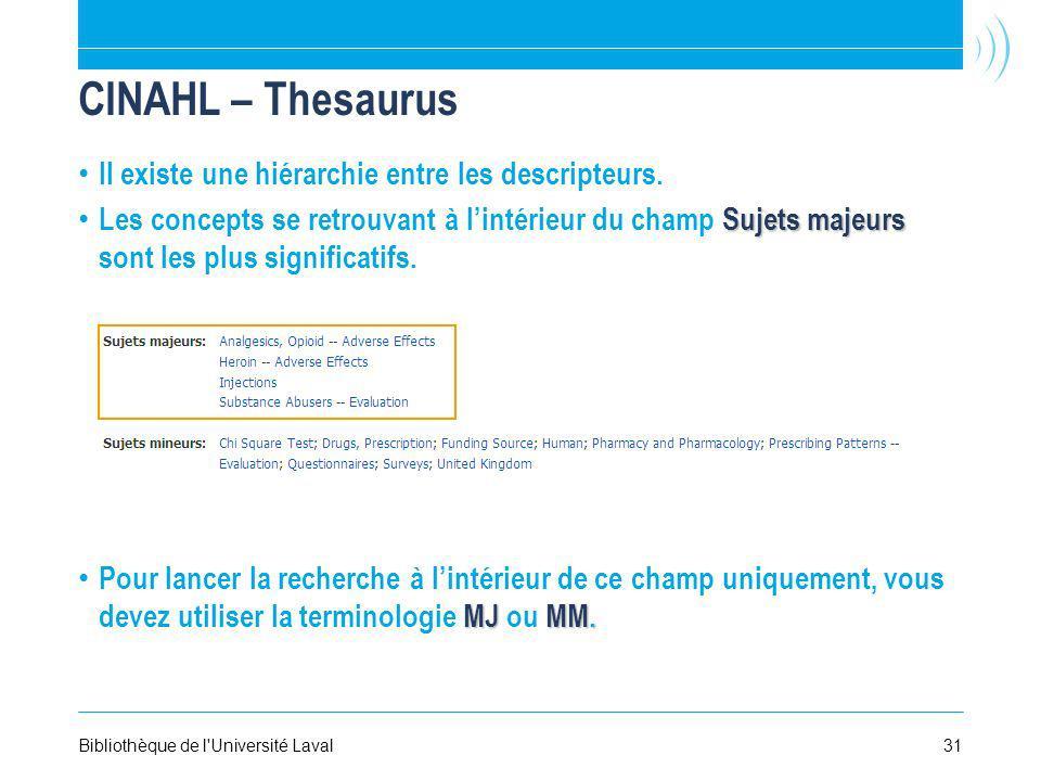 CINAHL – Thesaurus Il existe une hiérarchie entre les descripteurs.