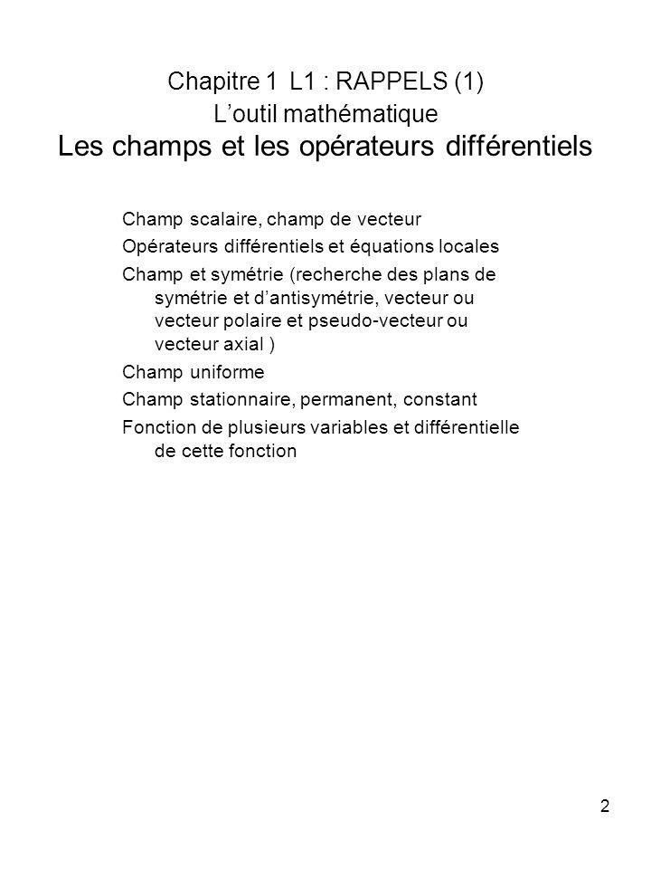 Chapitre 1 L1 : RAPPELS (1) L'outil mathématique Les champs et les opérateurs différentiels