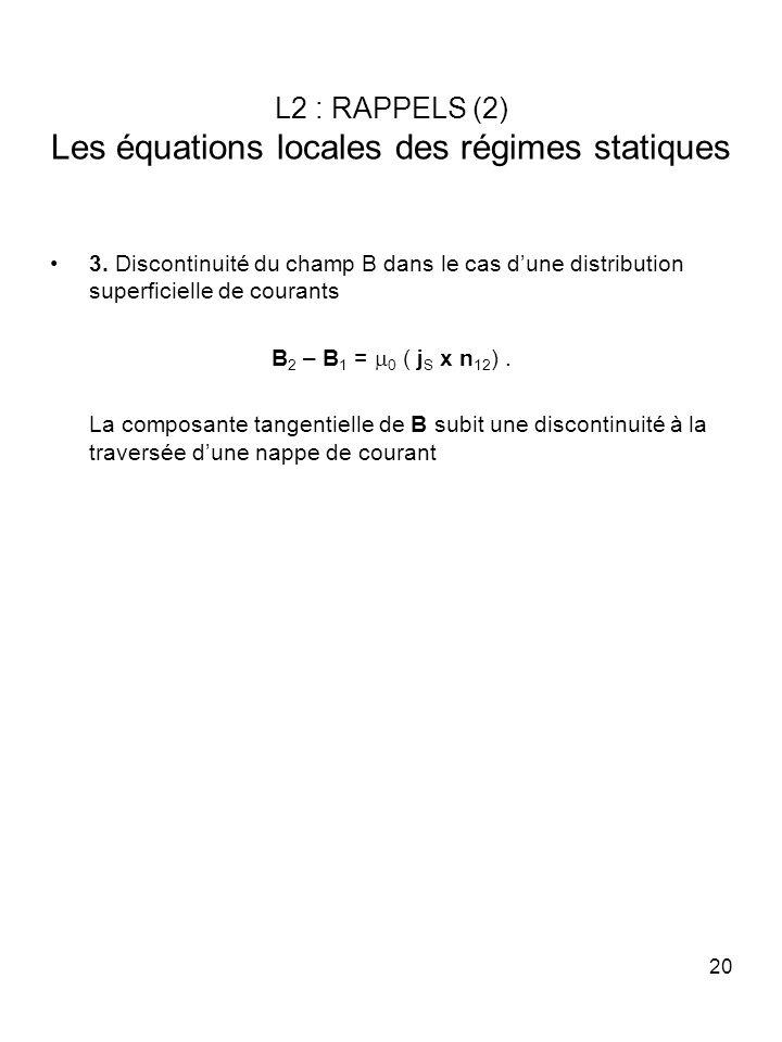 L2 : RAPPELS (2) Les équations locales des régimes statiques
