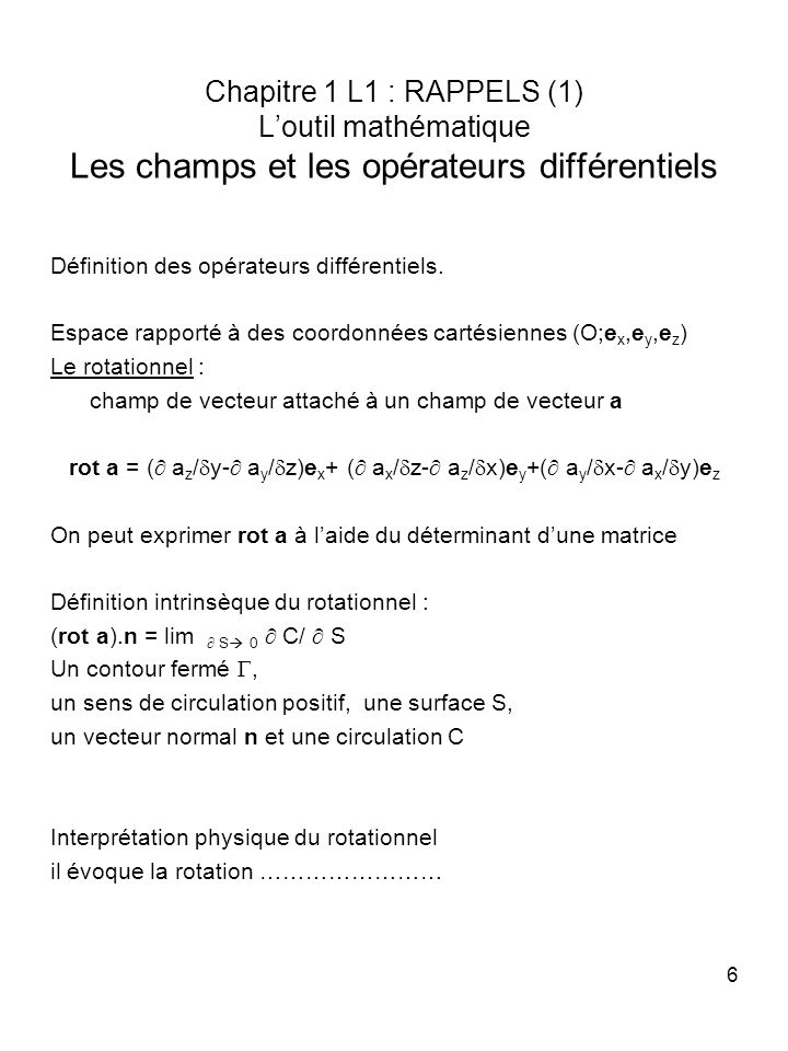 rot a = ( az/dy- ay/dz)ex+ ( ax/dz- az/dx)ey+( ay/dx- ax/dy)ez