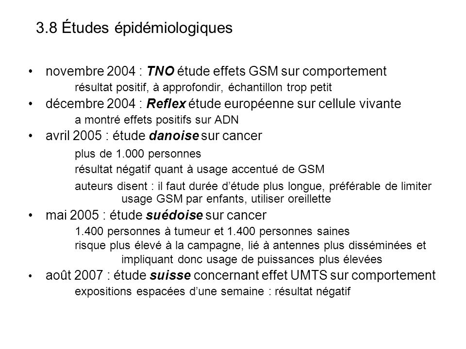 3.8 Études épidémiologiques