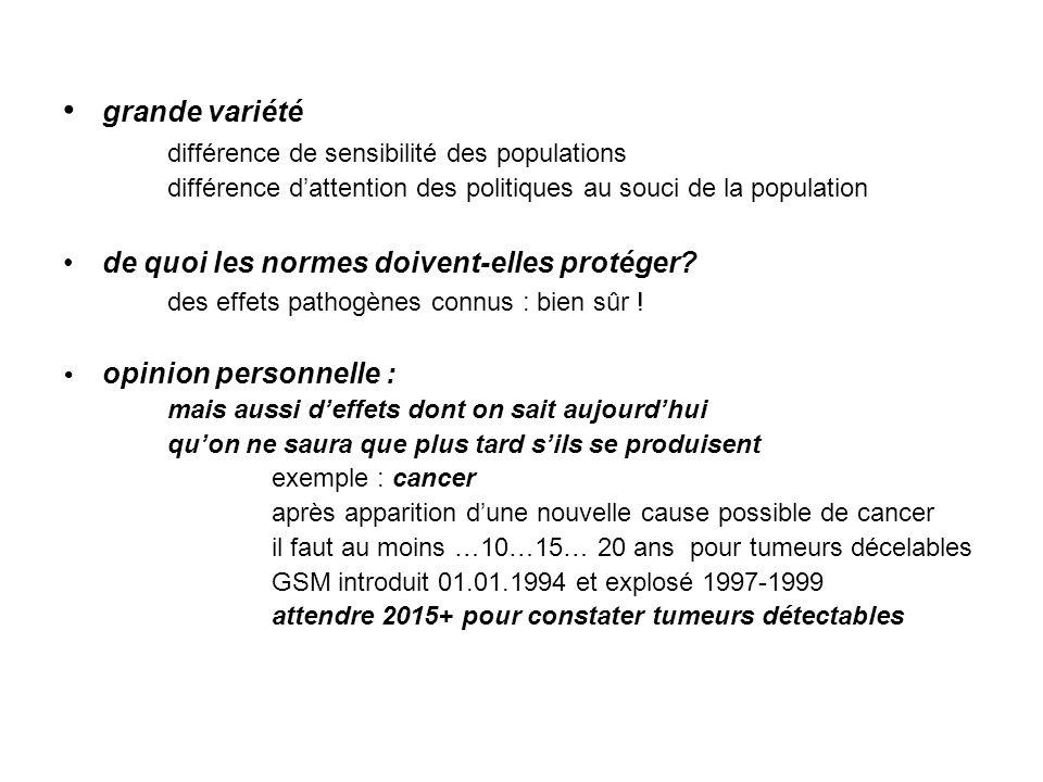 • grande variété différence de sensibilité des populations