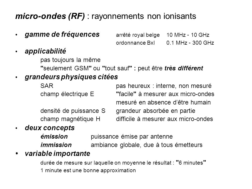 micro-ondes (RF) : rayonnements non ionisants
