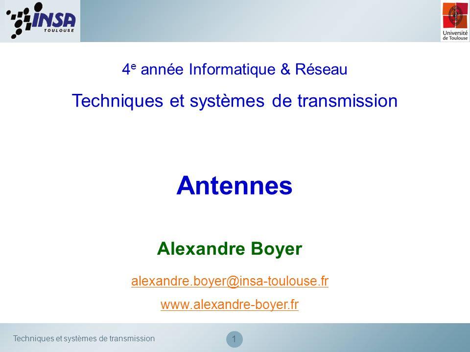 Antennes Techniques et systèmes de transmission Alexandre Boyer
