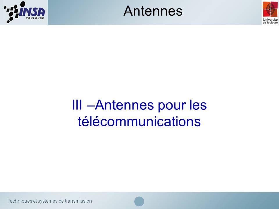 III –Antennes pour les télécommunications