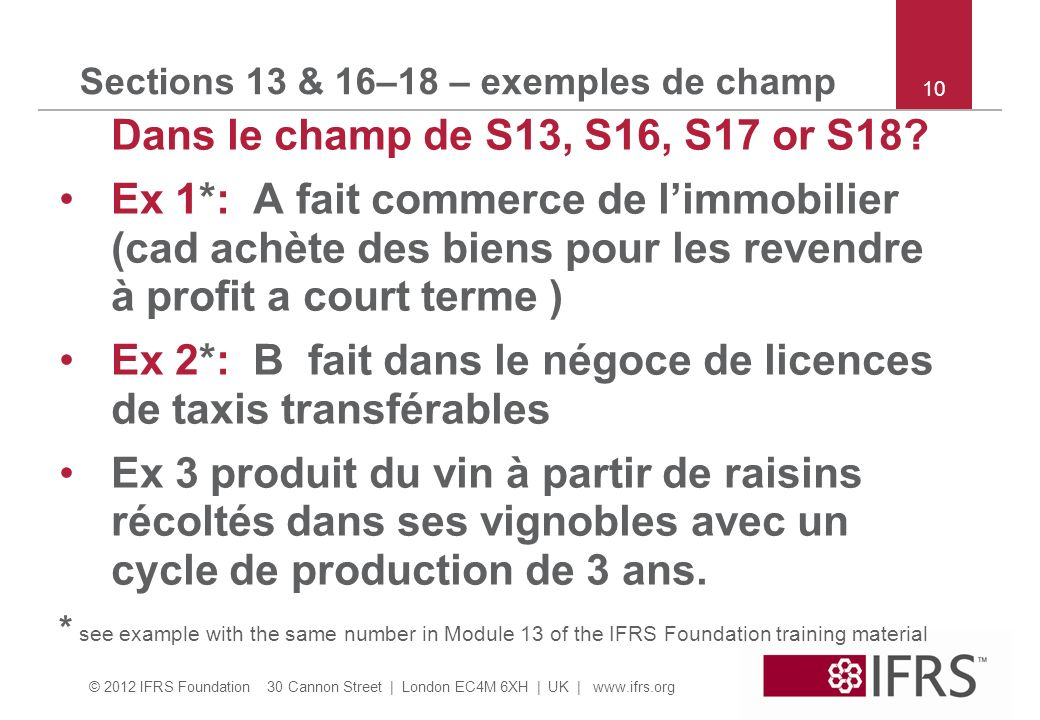 Sections 13 & 16–18 – exemples de champ