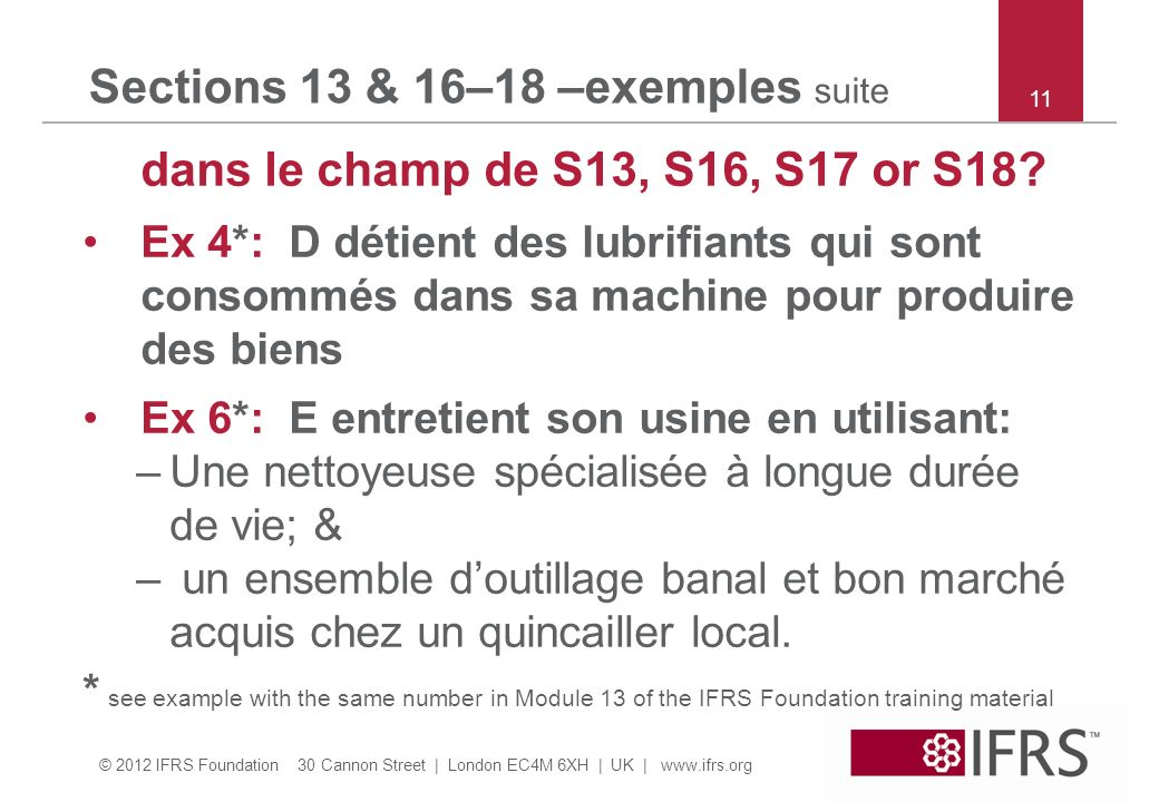 Sections 13 & 16–18 –exemples suite