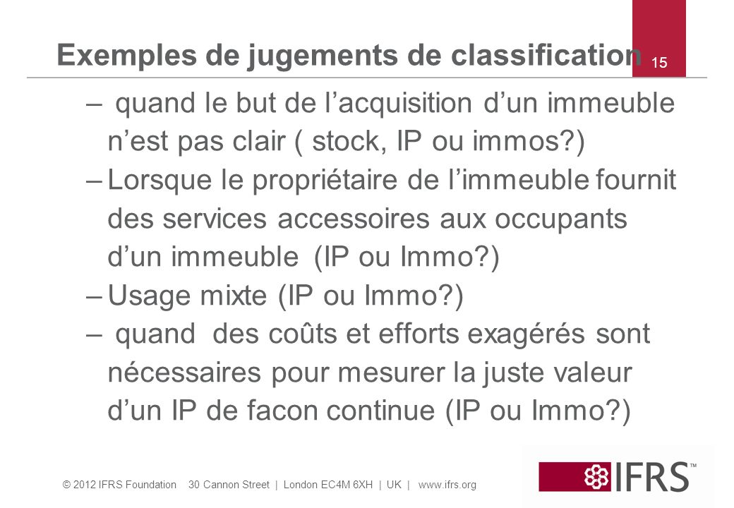 Exemples de jugements de classification