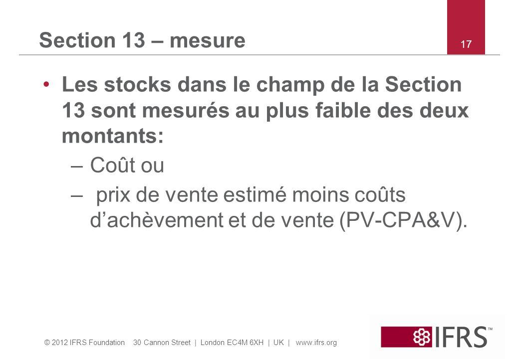 prix de vente estimé moins coûts d'achèvement et de vente (PV-CPA&V).