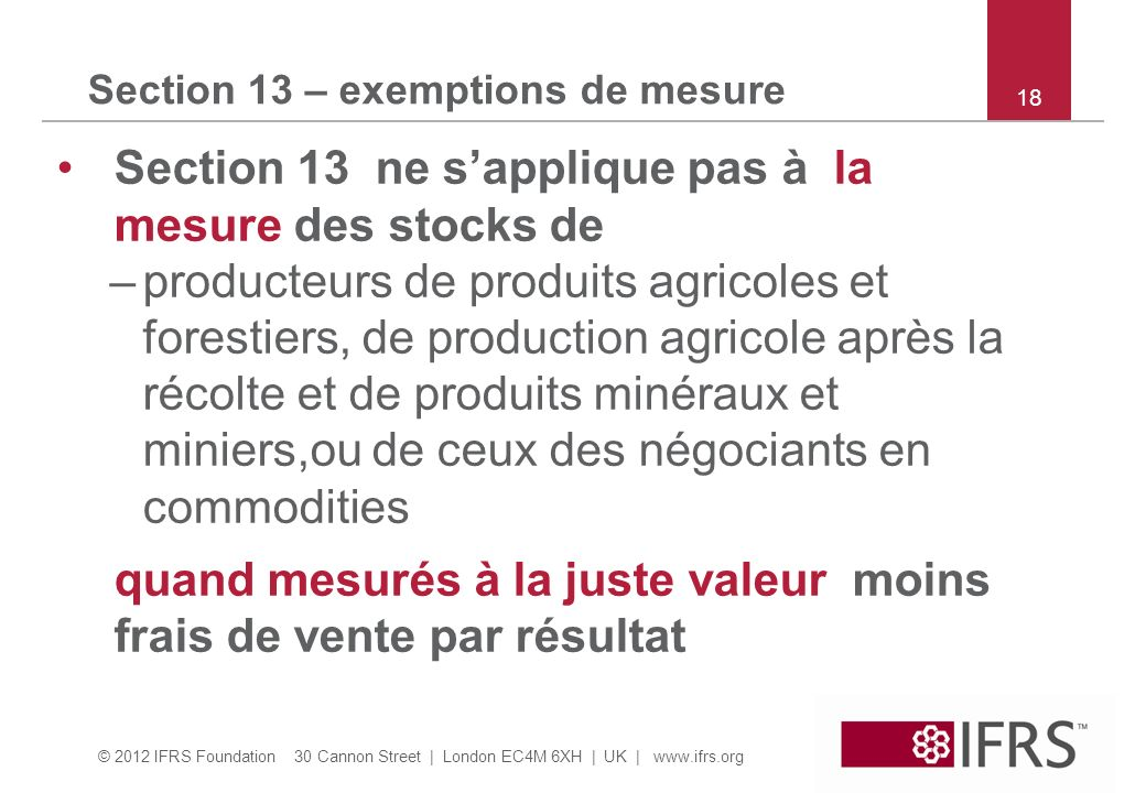 Section 13 – exemptions de mesure