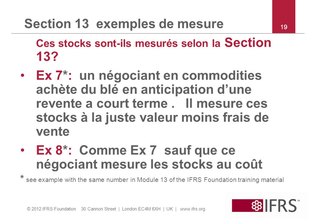 Section 13 exemples de mesure