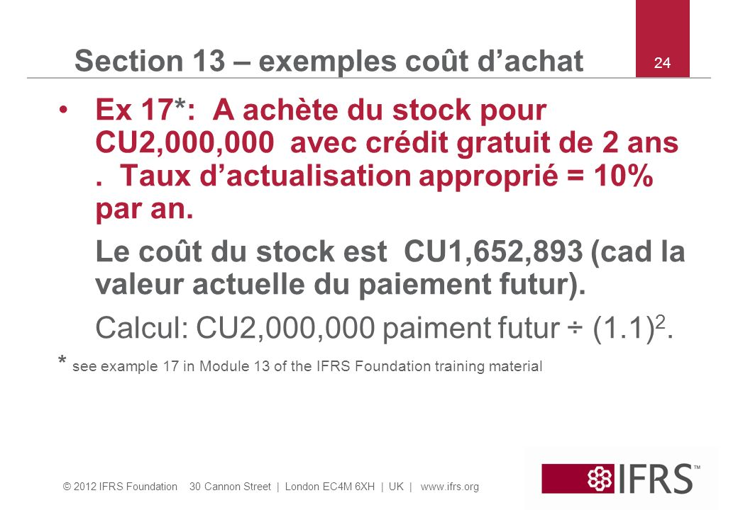 Section 13 – exemples coût d'achat
