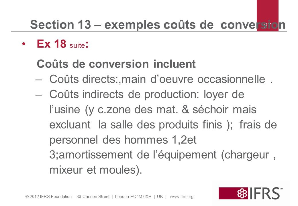 Section 13 – exemples coûts de conversion