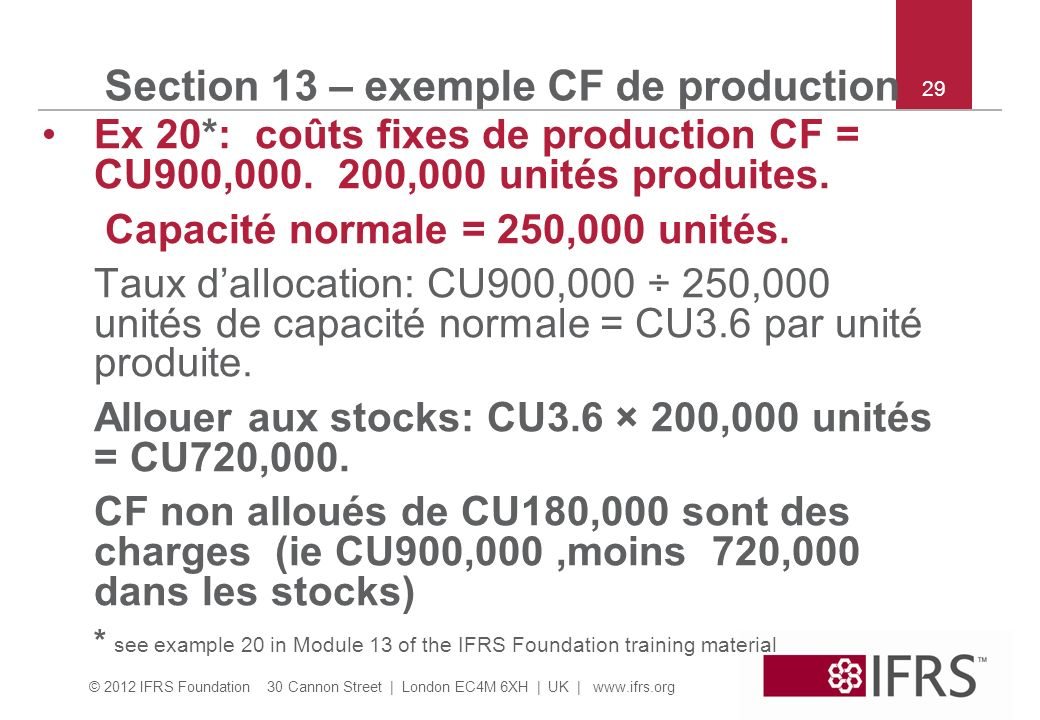 Section 13 – exemple CF de production