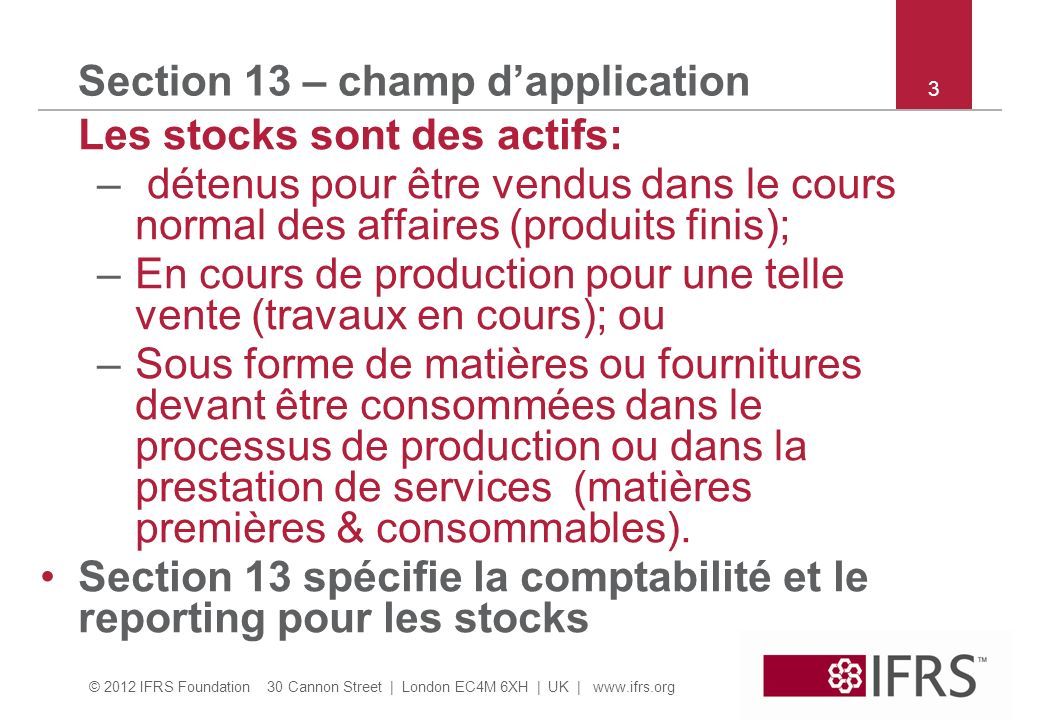 Section 13 – champ d'application