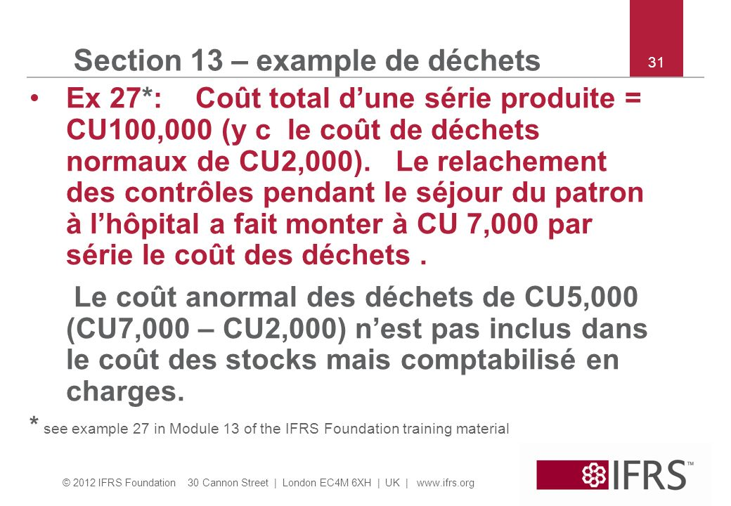 Section 13 – example de déchets