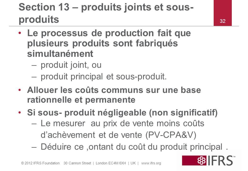 Section 13 – produits joints et sous-produits