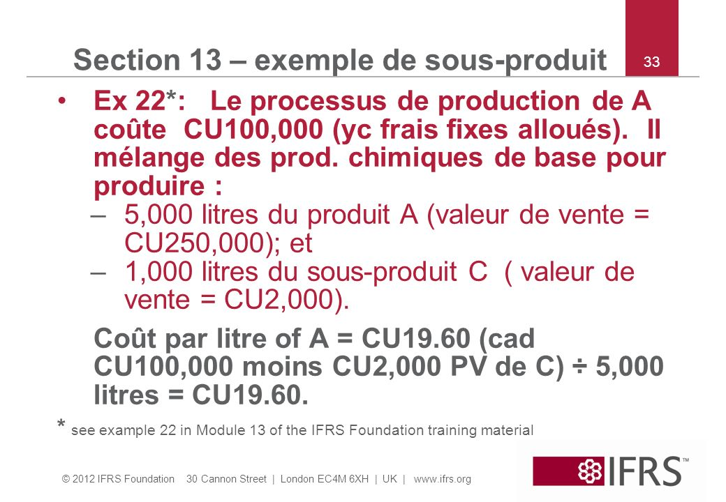 Section 13 – exemple de sous-produit