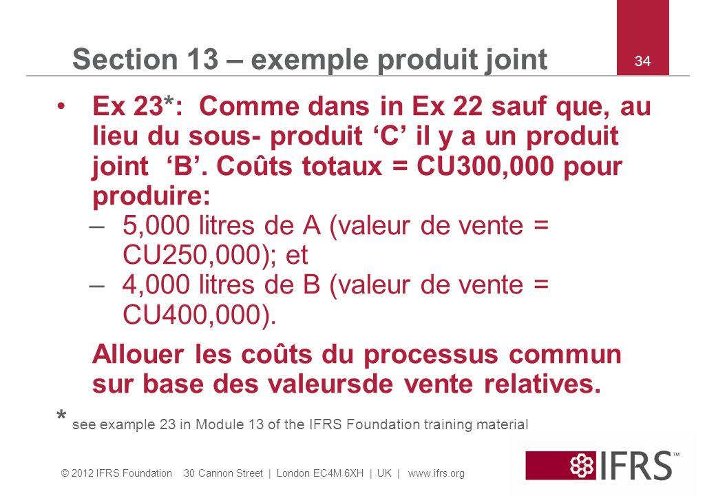 Section 13 – exemple produit joint