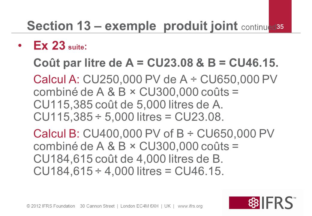 Section 13 – exemple produit joint continued