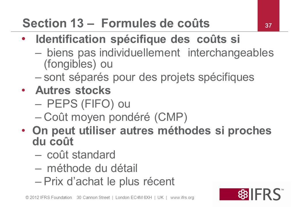 Section 13 – Formules de coûts