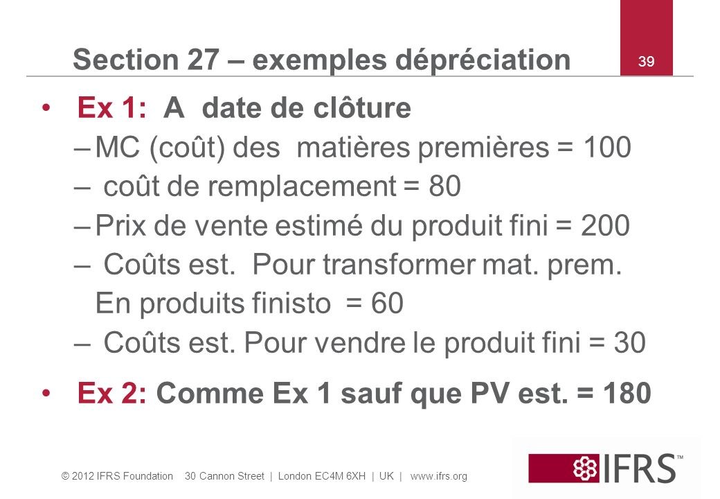 Section 27 – exemples dépréciation