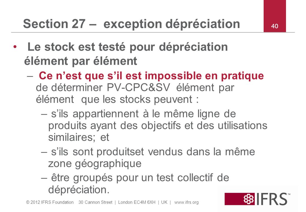 Section 27 – exception dépréciation