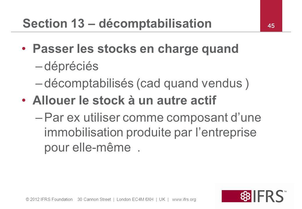 Section 13 – décomptabilisation