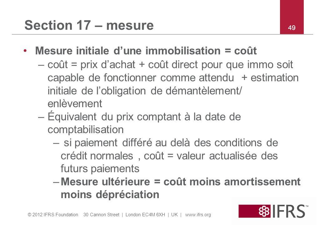 Section 17 – mesure Mesure initiale d'une immobilisation = coût