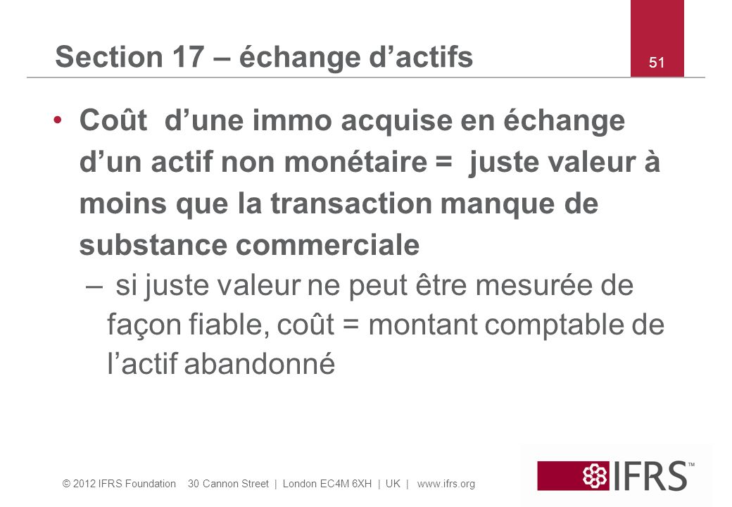 Section 17 – échange d'actifs
