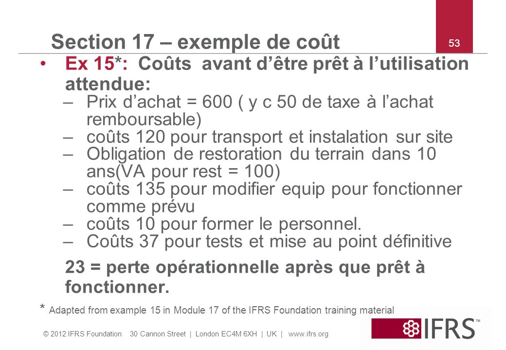 Section 17 – exemple de coût