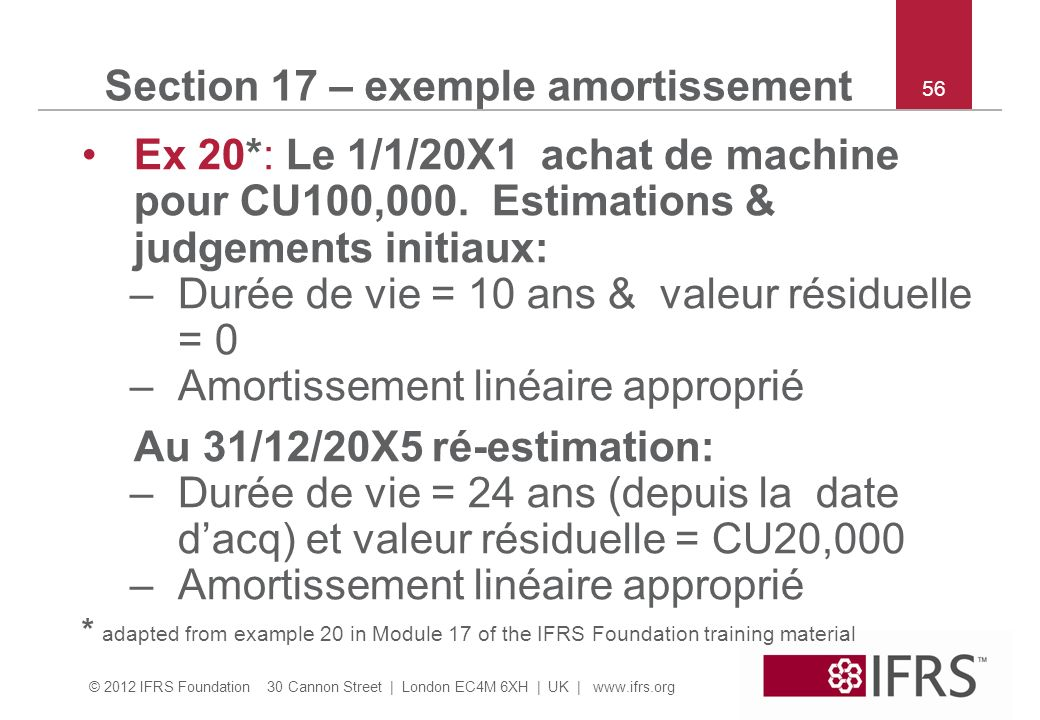 Section 17 – exemple amortissement