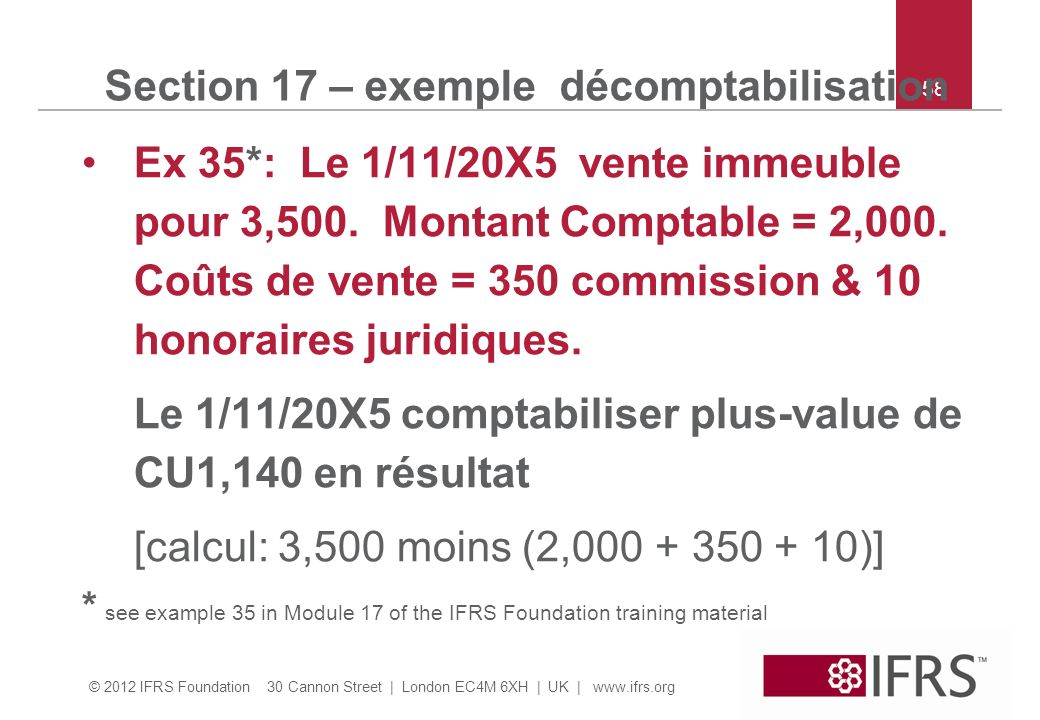Section 17 – exemple décomptabilisation