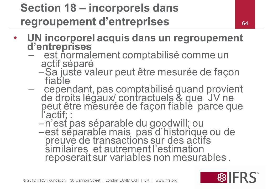 Section 18 – incorporels dans regroupement d'entreprises