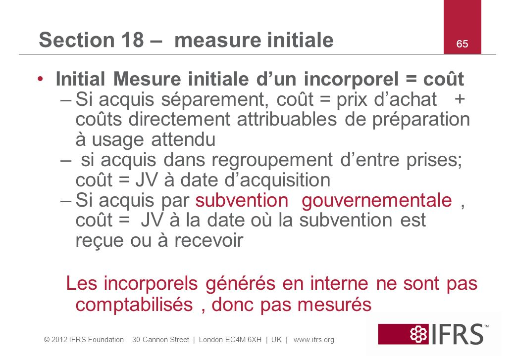 Section 18 – measure initiale